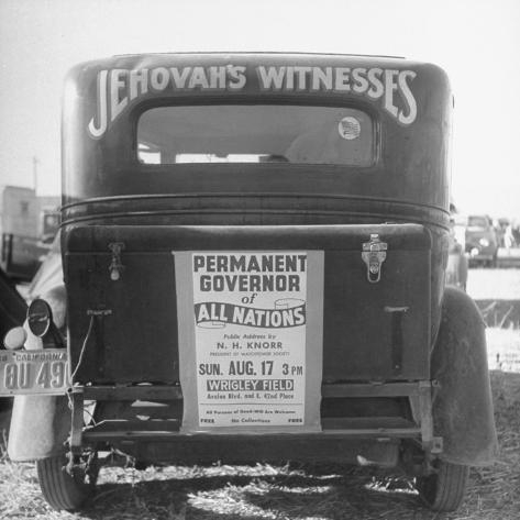 Back of Car Advertising for Jehovah's Witnesses' Activities at Wrigley Field Photographic Print