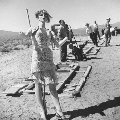 Mannequins Used to Gauge Effect of Atomic Blast on Human Body Standing at Atomic Bomb Test Site Photographic Print