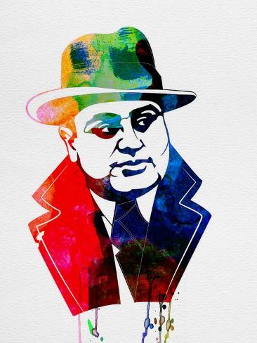 Al Capone Watercolor Impressão artística