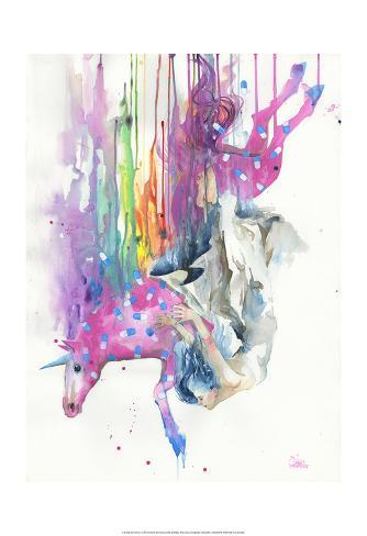 Falling Caused by Unicorn Art Print
