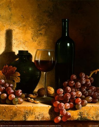 Wine Bottle, Grapes and Walnuts Taidevedos