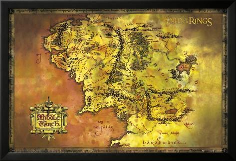 Lord Of The Rings-Classic Map Lamina Framed Poster