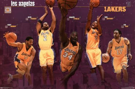 Los Angeles Lakers 2001 Group Sports Poster Print Poster