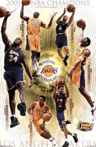 Los Angeles Lakers 2001 NBA Champions Sports Poster Print Poster