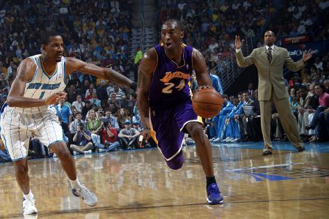 Los Angeles Lakers v New Orleans Hornets - Game Four, New Orleans, LA - April 24: Kobe Bryant and T Photographic Print