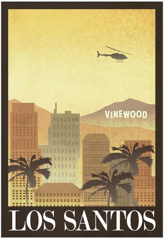 Los Santos Retro Travel Poster Pôster