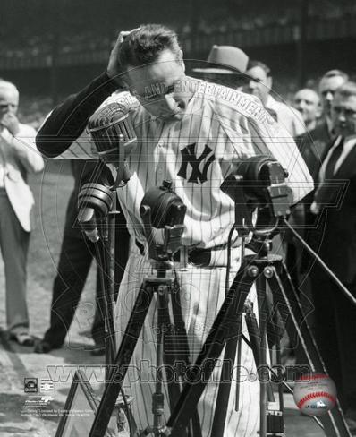 Lou Gehrig #4 at his retirement ceremony on July 4, 1939. Photo