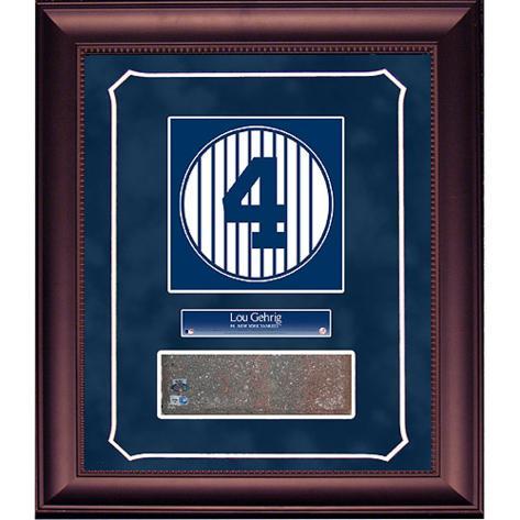 Lou Gehrig Retired Number Monument Park Brick Slice Collage w/ Nameplate Framed Memorabilia
