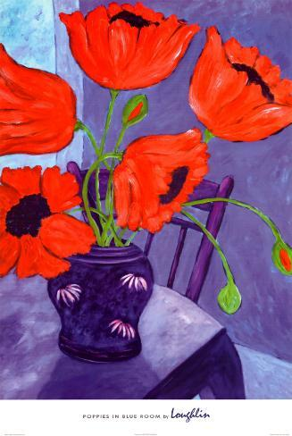 Poppies in Blue Room Poster