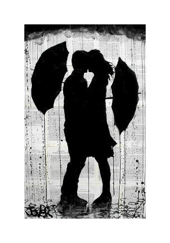 Umbrellas and Love Giclee Print