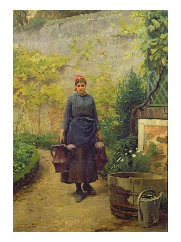 Woman with Watering Cans Giclee Print