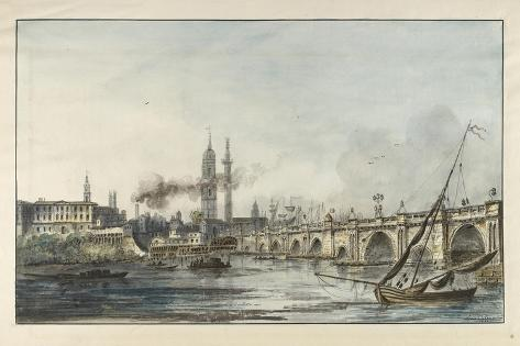 View across the Thames Towards the Church of St Magnus and the Monument with London Bridge Giclee Print