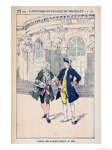 Francois Voltaire with King Frederick II of Prussia at Sanssouci Near Potsdam Giclee Print