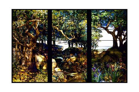 A Wooded Landscape in Three Panels Giclee Print