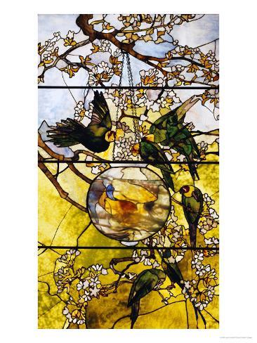 Parakeets and Gold Fish Bowl, 1893 Giclee Print