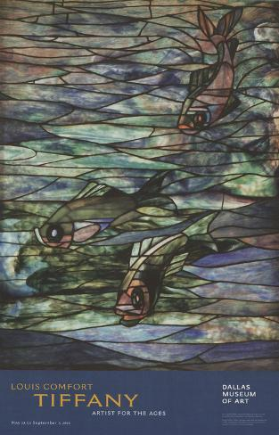 Window Panel with Swimming Fish Art Print