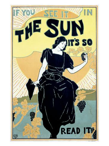 The Sun Sunshine Newspaper Giclee Print