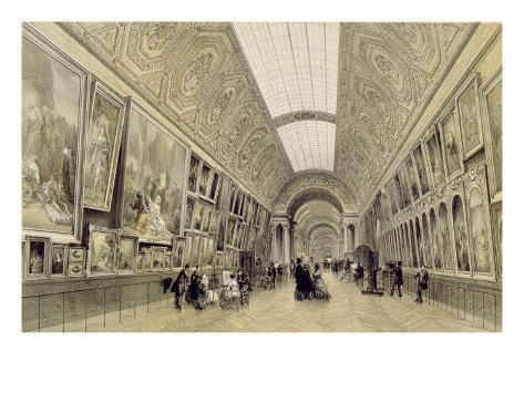 View of the Great Gallery at the Louvre, C.1850-70 Giclee Print