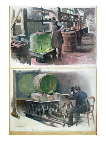 Manufacture of Glass for an Optical Lens, 1900 Giclee Print