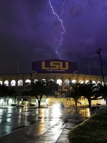 Louisiana State University - Tiger Stadium Lightning Photo