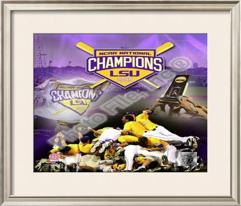 Louisiana State University Tigers 2009 NCAA Baseball Champions Framed Photographic Print