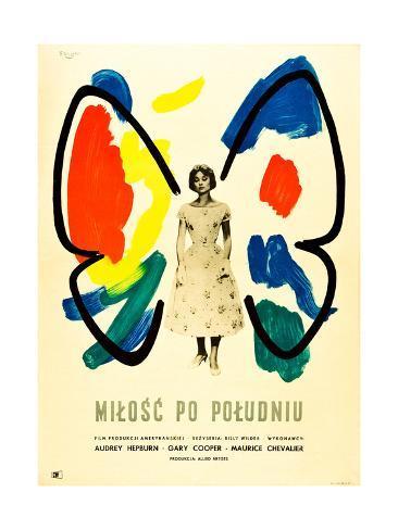 Love in the Afternoon, (AKA Milosc Po Poludniu), Polish Poster, Audrey Hepburn, 1957 Giclee Print