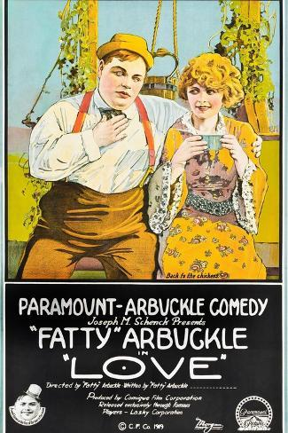 LOVE, l-r: Roscoe 'Fatty' Arbuckle, Winifred Westover on poster art, 1919 Art Print