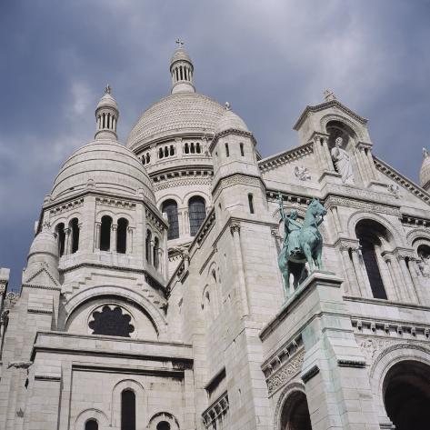 Low Angle View of a Church, Basilique Du Sacre Coeur, Montmartre, Paris, France Stretched Canvas Print