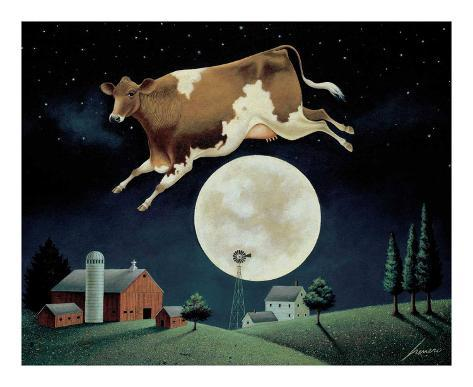 Cow Jumps over the Moon Art Print