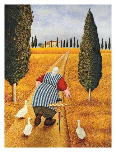 Lady with Fresh Bread Art Print