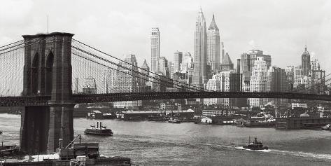 Lower Manhattan and the Brooklyn Bridge, c.1937 Art Print