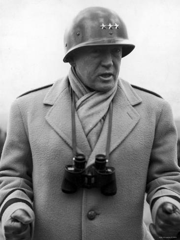 Lt. General George Patton Addressing Troops Somewhere in European Theater of Operations During WWII Premium Photographic Print