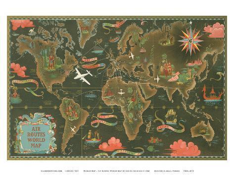 flygrutter karta Världskarta   flygrutter över hela världen   planisfär   Poster av  flygrutter karta