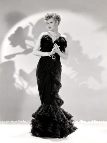 Lucille Ball Models a Lovely Black Gown, Publicity Still, 1940's Photo