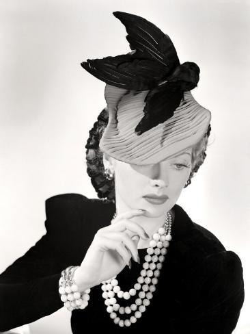 Lucille Ball Models a Unique Hat for a Publicity Still, 1940's Photo