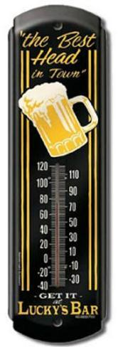 Lucky's Bar Indoor/Outdoor Thermometer Tin Sign