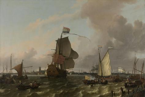 Man-Of-War Brielle on the River Maas Off Rotterdam Premium Giclee Print
