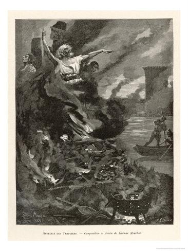 Jacques de Molay and Other Leading Knights Templar are Hastily Burnt at Paris Giclee Print