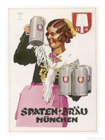 Waitress Brings Four Seidels of Frothy Spaten-Brau Gicléetryck