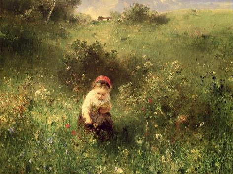 Young Girl in a Field Giclee Print