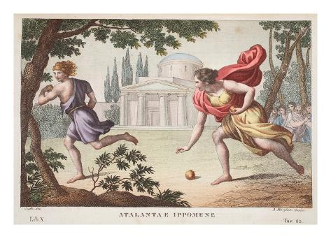 Atalanta and Hippomenes, Book X, Illustration from Ovid's Metamorphoses, Florence, 1832 Impressão giclée
