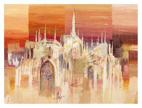 Milano al tramonto Art Print