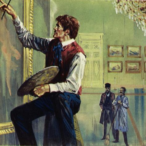 Delacroix Working on His Canvas at the Paris Salon Giclee Print