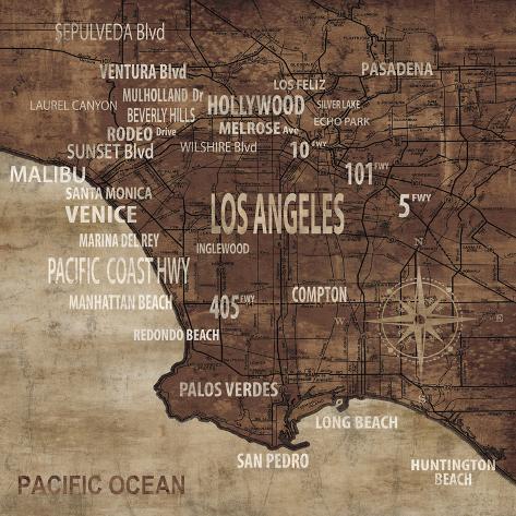 Map of Los Angeles Art Print