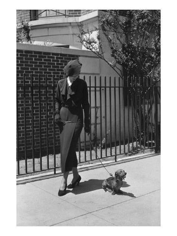 Vogue - August 1934 - Woman Walking her Pet Dachshund Photographic Print