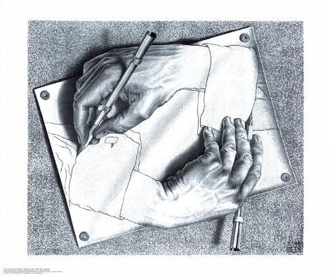 Drawing Hands Art Print