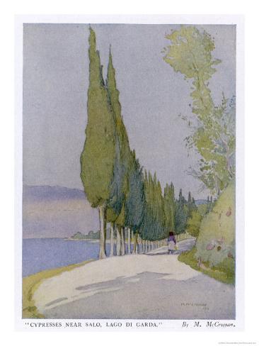 Row of Cypress Trees Edge the Path Near Salo Lake Garda Giclee Print