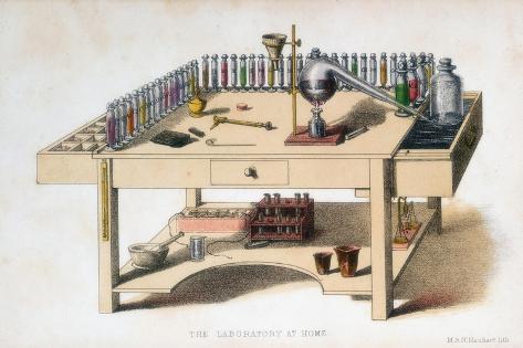 The Amateur Chemist's Laboratory Bench, 1860 Giclee Print