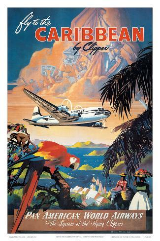 Pan American: Fly to the Caribbean by Clipper, c.1940s Art Print