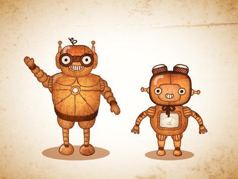 Hipster Friendly Robots Art Print